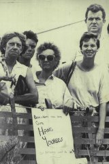 Some of the crowd outside the Sian Kingi inquest at Noosa in 1988.
