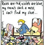 Cartoon showing cluttered room