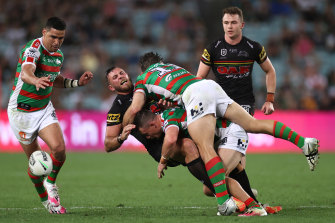 Kurt Capewell takes a big hit at ANZ Stadium.