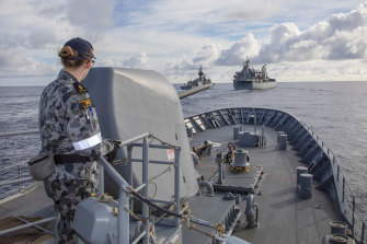 Australian Defence Force ships in the South China Sea during the Regional Presence Deployment 2020.