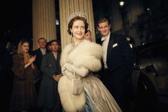 """Claire Foy and Matt Smith in a scene from """"The Crown""""."""