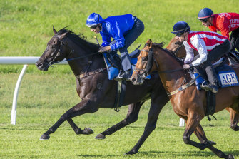 Kementari holds off Super Seth in a Randwick barrier trial earlier in the month.