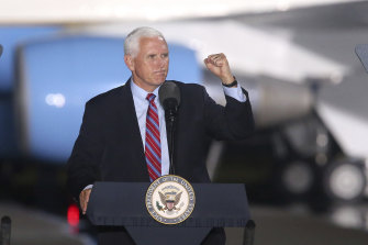 US Vice-President Mike Pence at a campaign rally in Florida on Saturday.