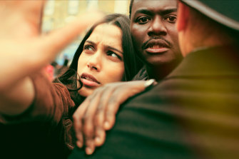 Freida Pinto, left, and Babou Ceesay in Guerrilla, written and produced by  John Ridley.