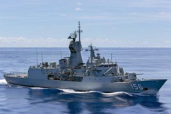 HMAS Toowoomba during a 2018 deployment.