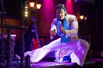 Norwegian performer Kjell Elvis, real name Kjell Henning Bjornstad, at the start of his Elvis Presley singing challenge.