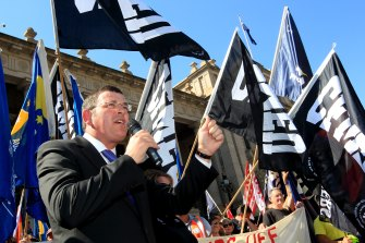 Daniel Andrews speaking at a union rally in 2012