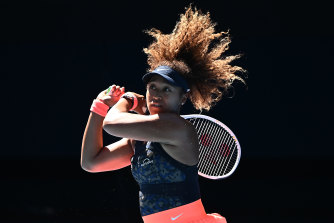 Naomi Osaka belts a backhand in her win over Serena Williams.