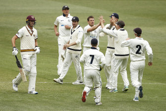 Arms up: James Pattinson celebrates after dismissing Cameron Gannon during day three of the Sheffield Shield match between Victoria and Queensland at the MCG.