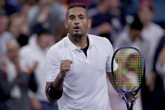 Nick Kyrgios celebrates his first-round win at the US Open.