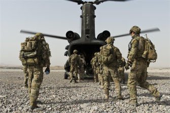 Australian special forces soldiers and their Afghan National Security Force partners at Tarin Kowt base in southern Afghanistan's Oruzgan province in 2012.