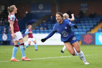 Sam Kerry scores for Chelsea on Sunday.