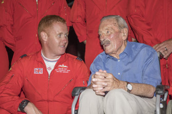 Maurice Mounsden (right), with Red 1, Squadron Leader Martin Pert, at a reception at the Menorca Aeroclub, following a Red Arrows display on the island of Menorca to mark his 100th birthday.