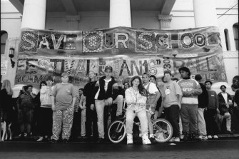 The Save Our Schools festival and rally organised by Richmond, Northland, Fitzroy and Gravel Hill schools in 1993.