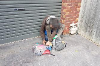 A drug user outside reader Allan's garage.