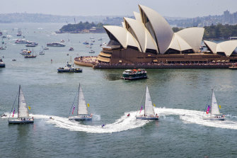 The Tug and Yacht ballet performed on Sydney Harbour on Sunday.