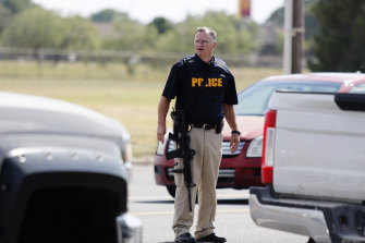 A law enforcement officer in Odessa, Texas following the shooting.