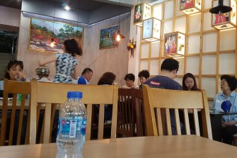 The restaurant fills up at lunch with Koreans, Thais and Western tourists.