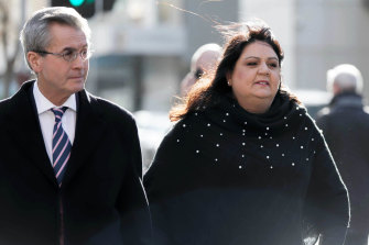 Seven West Media chief executive Maryna Fewster arrives at the Perth Casino Royal Commission with her lawyer Anthony Power.