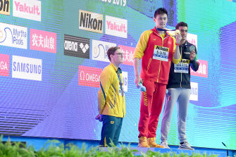 Australia's Mack Horton protests against China's Sun Yang's 400m freestyle win at the 2019 swimming world championships.
