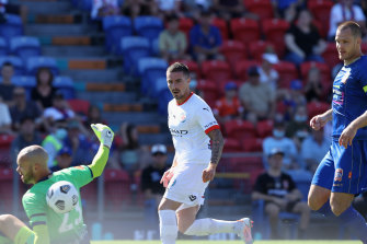 City's Jamie Maclaren is denied by Jets goalkeeper Jack Duncan.