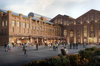 Artist impression of the new entrance and public square at the Powerhouse Museum at Ultimo.