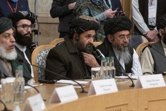 Taliban co-founder Mullah Abdul Ghani Baradar, centre, with other members of a Taliban delegation attend an international peace conference in Moscow, Russia, in March.