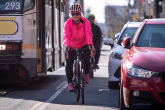 Cyclist Tina McCarthy says she avoids many of Melbourne's main drags, such as Chapel Street, due to the lack of safe cycling infrastructure.