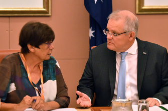 Wary of more bureaucracy: National Aboriginal Community Controlled Health Organisation chief Pat Turner and Prime Minister Scott Morrison at a coalition of Indigenous peak bodies meeting in Canberra earlier this year.