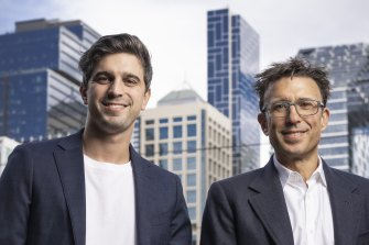 Afterpay's Nick Molnar and Anthony Eisen in Sydney.
