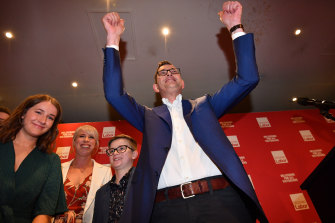 The Premier celebrates after his re-election in 2018.  Parties are reviewing their campaign strategies due to a drop in donations.
