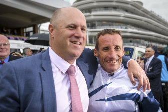 Danny O'Brien and jockey Damien Oliver after Miami Bound's 2019 VRC Oaks win.