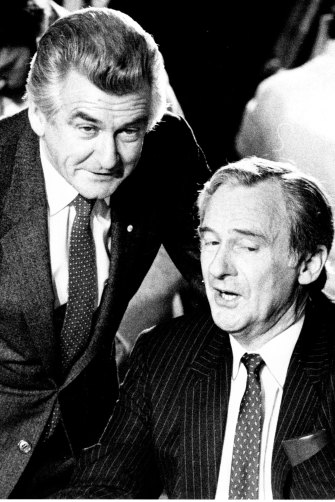 Then prime minister Bob Hawke with the man he replaced as leader of the ALP, Bill Hayden, in July 1984.