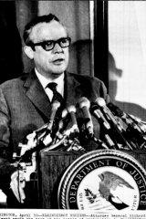 Attorney General Richard G. Kleindienst announces his resignation on April 30, 1973.