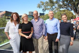 The cast of Sunrise. From left Natalie Barr, Samantha Armytage, David Koch, Mark Beretta and Edwina Bartholomew.