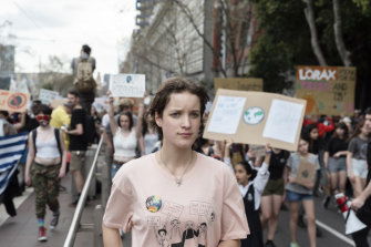 Freya Brown leads the climate change protest in Melbourne on Friday.
