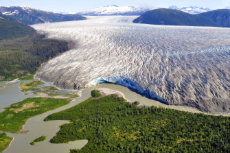 An aerial view of Alaska's Taku glacier near Juneau.
