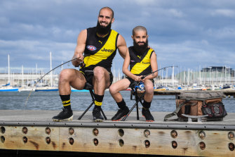 Bachar Houli and Jake, his Mini Legend, fish and talk footy together at Williamstown.