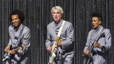 David Byrne, centre, with bandmates at Margaret Court Arena.