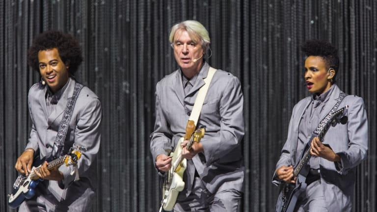 David Byrne, centre, with bandmates at Margaret Court Arena.