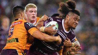 Third time lucky: Moses Suli is making his mark at Manly after being shown the door at the Tigers and Bulldogs.