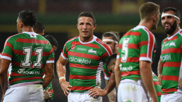 Enforcer: Souths forward Sam Burgess wasn't happy to be taken off for a head injury assessment.