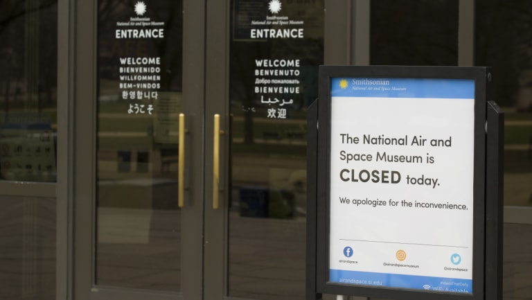 The Smithsonian Institution National Air and Space Museum is closed during the partial government shutdown, on Friday.