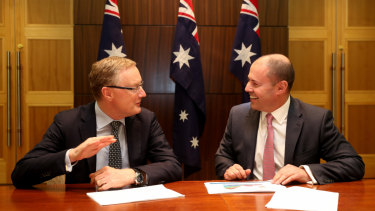 Josh Frydenberg with RBA governor Philip Lowe after a two-hour meeting on the state of the economy