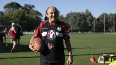 Manuel Xyrakis in footy mode. The family is long-time sponsors of the Ainslie Football Club.