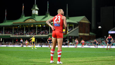Quiet night: Lance Franklin's performance was emblematic of Sydney as a whole.