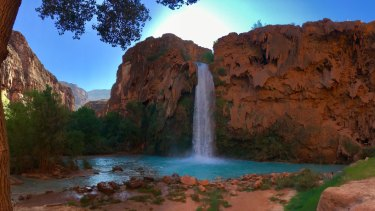 Waterfalls in the Havasupai Indian Reservation are coloured blue by the presence of limestone.