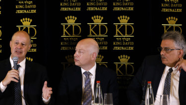 Israeli Minister of Regional Cooperation Tzachi Hanegbi, left, with Trump's Middle East envoy Jason Greenblatt, centre, and Palestinian Water Authority head Mazen Ghoneim.