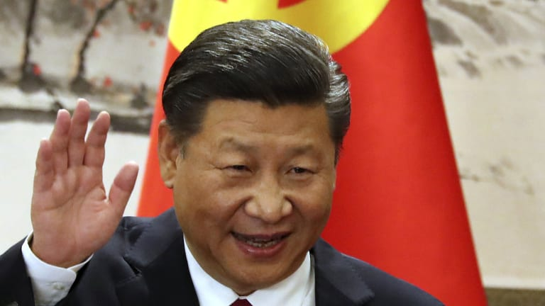 Chinese President Xi Jinping introducing new members of the Politburo Standing Committee in October last year.