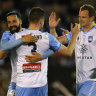 Nice work: Ben Warland is congratulated by Sydney FC veteran Alex Wilkinson after scoring his first career goal in the FFA Cup last year.